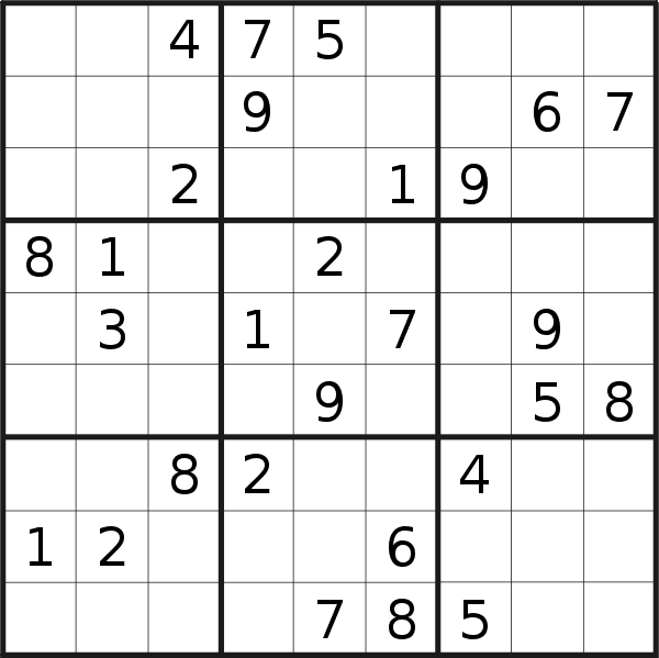 Sudoku puzzle for Thursday, 13th of July 2017