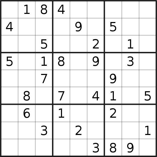 Sudoku puzzle for Saturday, 9th of September 2017