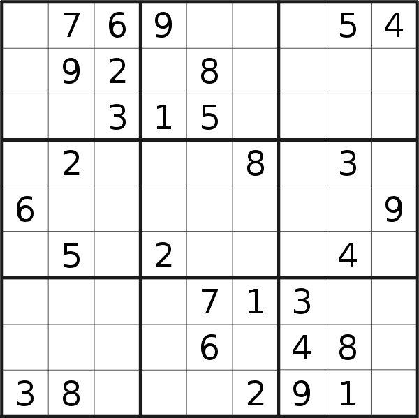 Sudoku puzzle for Monday, 11th of September 2017