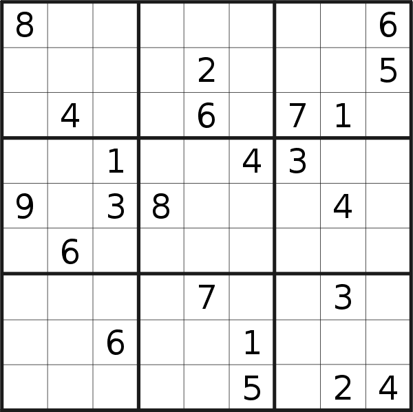 Sudoku puzzle for <br />Monday, 8th of January 2018