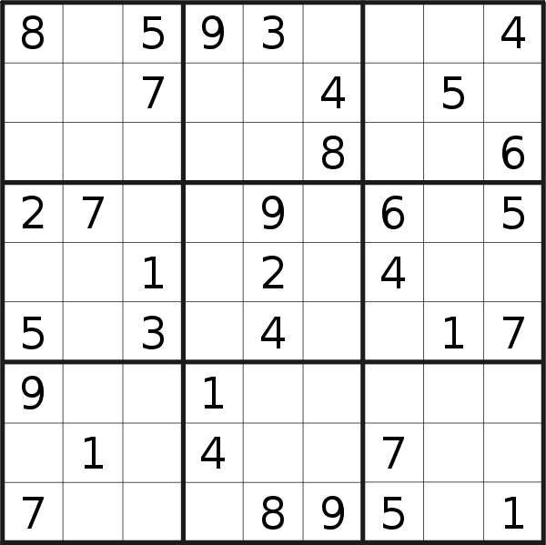 Sudoku puzzle for Wednesday, 7th of February 2018