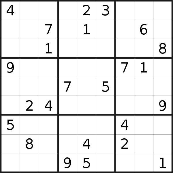 Sudoku puzzle for <br />Thursday, 8th of February 2018