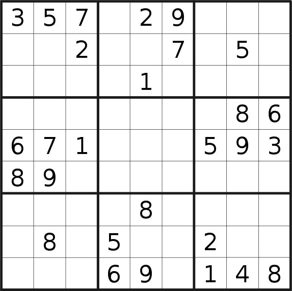Sudoku puzzle for <br />Friday, 9th of February 2018