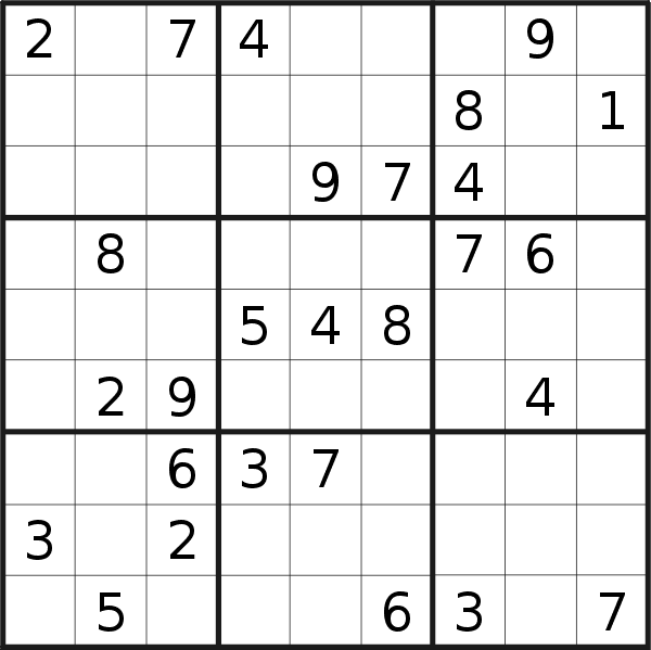 Sudoku puzzle for <br />Thursday, 8th of March 2018