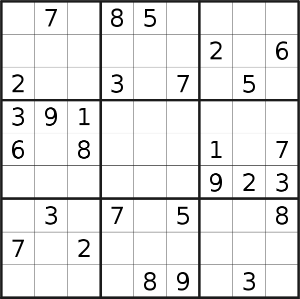 Sudoku puzzle for <br />Friday, 9th of March 2018