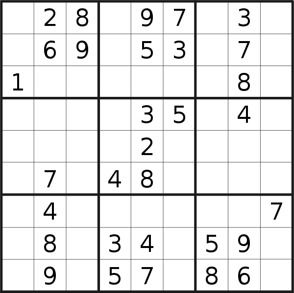 Sudoku puzzle for <br />Monday, 12th of March 2018