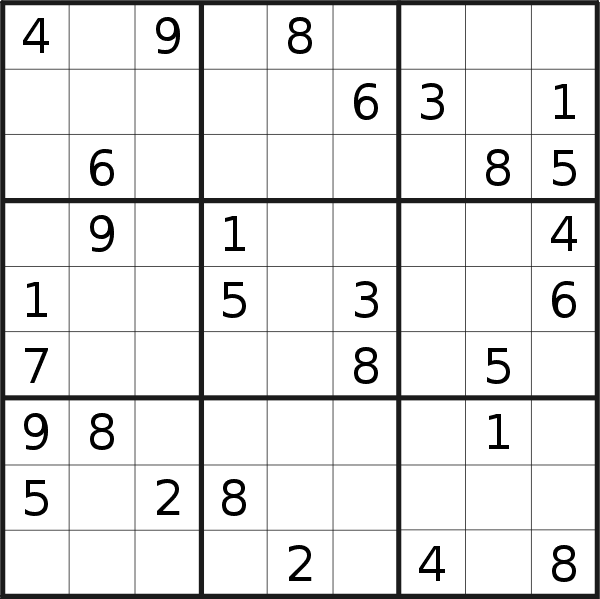 Sudoku puzzle for <br />Friday, 13th of April 2018