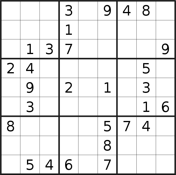 Sudoku puzzle for <br />Sunday, 15th of April 2018