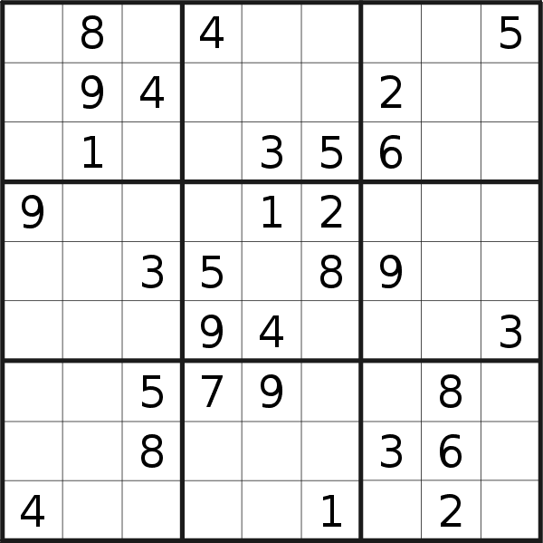 Sudoku puzzle for <br />Thursday, 10th of May 2018