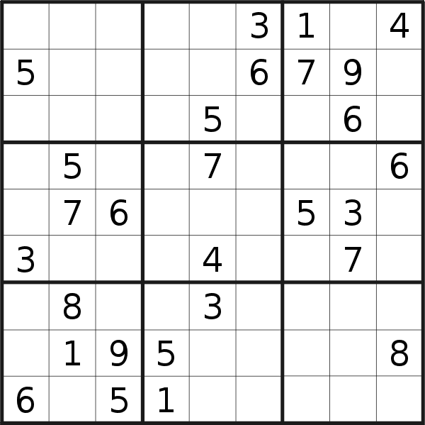 Sudoku puzzle for <br />Monday, 14th of May 2018