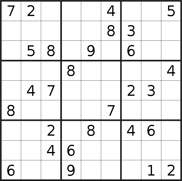 Sudoku puzzle for <br />Sunday, 5th of August 2018