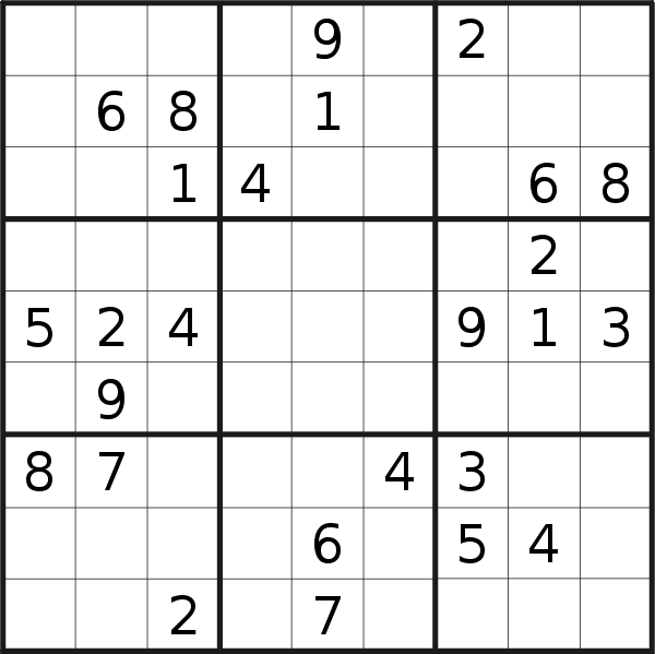 Sudoku puzzle for <br />Thursday, 9th of August 2018