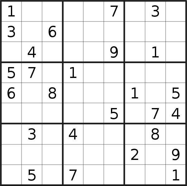 Sudoku puzzle for <br />Monday, 10th of September 2018