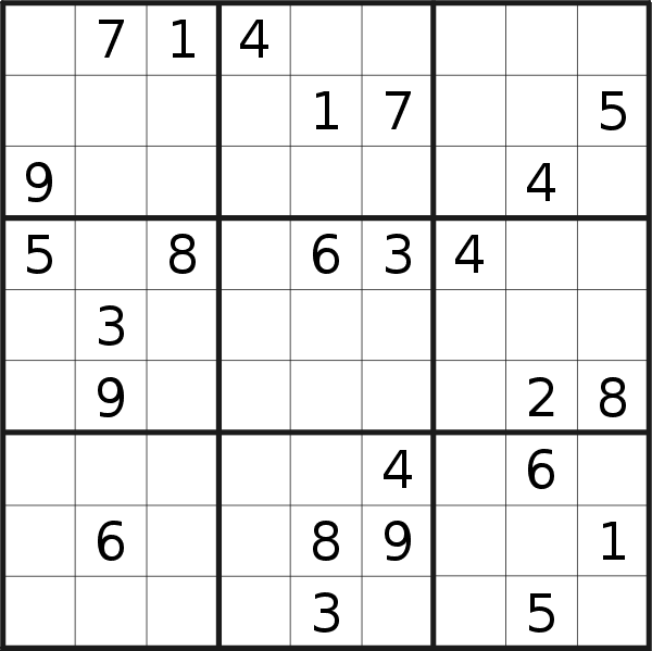 Sudoku puzzle for <br />Saturday, 6th of October 2018