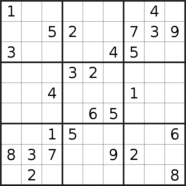 Sudoku puzzle for <br />Tuesday, 16th of October 2018