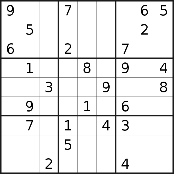 Sudoku puzzle for <br />Wednesday, 31st of October 2018