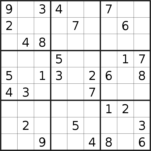 Sudoku puzzle for <br />Saturday, 3rd of November 2018