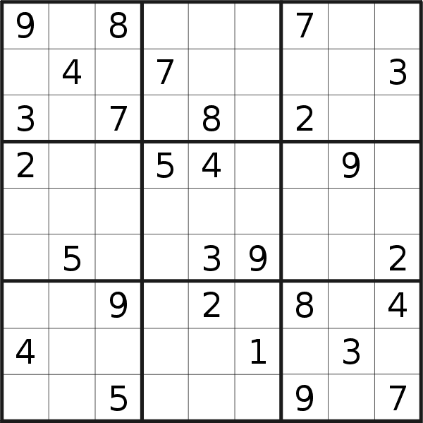 Sudoku puzzle for <br />Sunday, 18th of November 2018