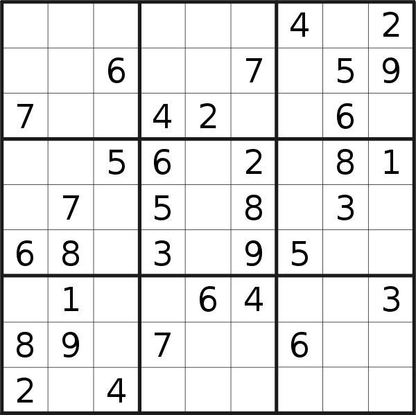 Sudoku puzzle for <br />Tuesday, 4th of December 2018