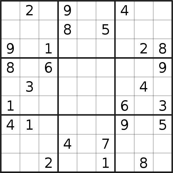 Sudoku puzzle for <br />Tuesday, 1st of January 2019