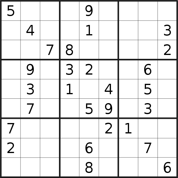 Sudoku puzzle for <br />Wednesday, 2nd of January 2019