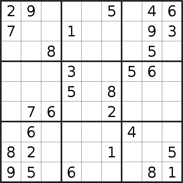 Sudoku puzzle for <br />Thursday, 3rd of January 2019