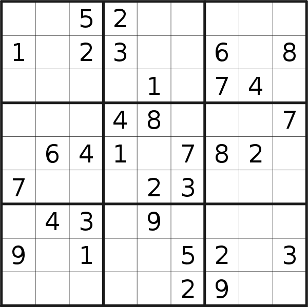 Sudoku puzzle for <br />Sunday, 6th of January 2019
