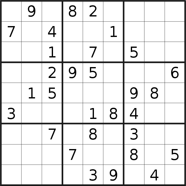 Sudoku puzzle for <br />Tuesday, 8th of January 2019