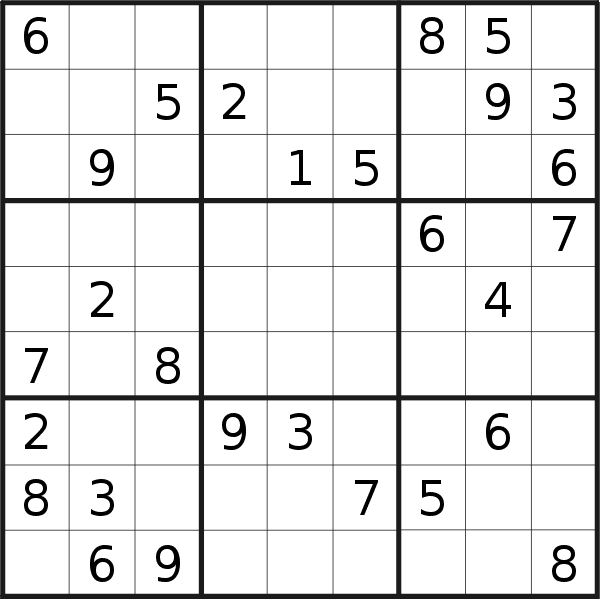 Sudoku puzzle for <br />Sunday, 13th of January 2019