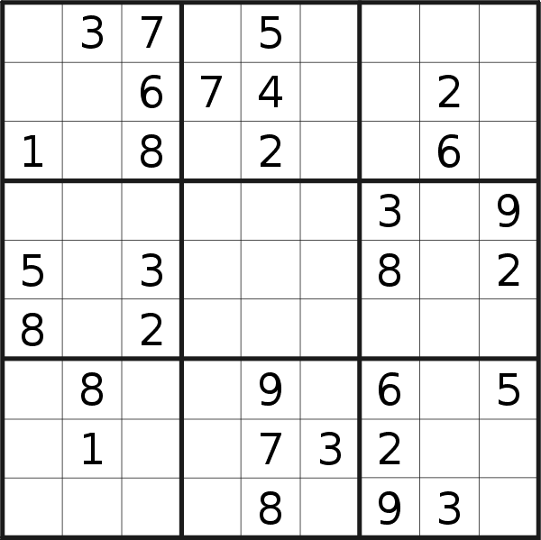 Sudoku puzzle for <br />Wednesday, 16th of January 2019