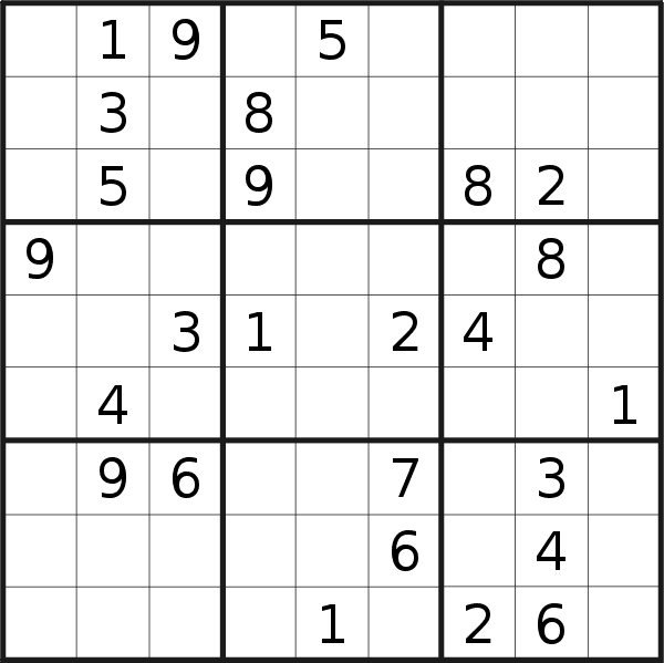 Sudoku puzzle for <br />Thursday, 17th of January 2019