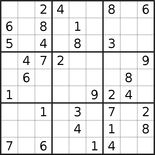 Sudoku puzzle for <br />Friday, 18th of January 2019