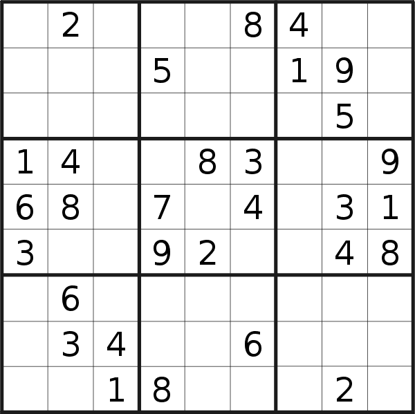 Sudoku puzzle for <br />Saturday, 19th of January 2019
