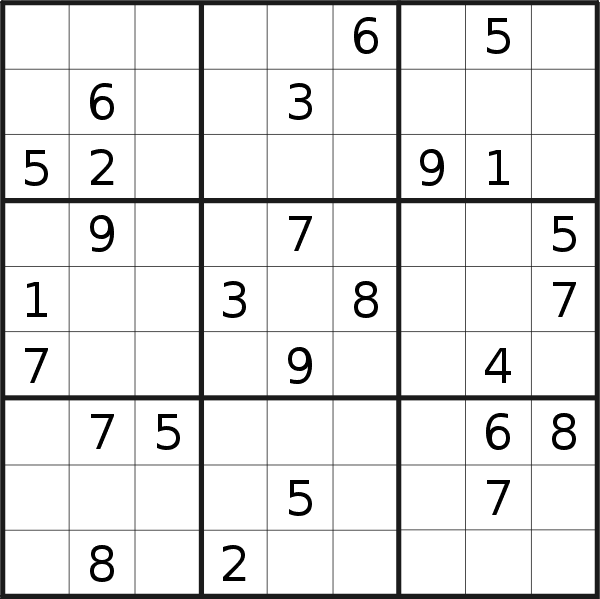 Sudoku puzzle for <br />Monday, 21st of January 2019