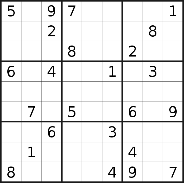 Sudoku puzzle for <br />Saturday, 26th of January 2019