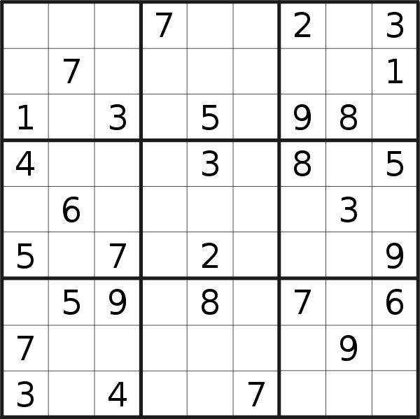 Sudoku puzzle for <br />Friday, 1st of February 2019