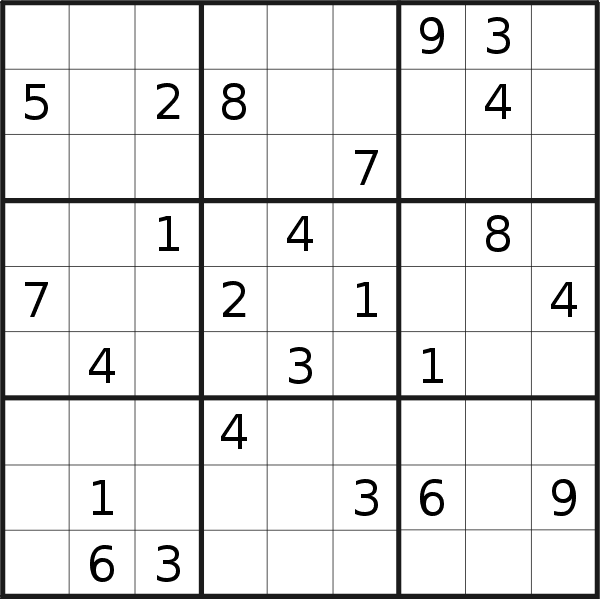 Sudoku puzzle for <br />Thursday, 7th of February 2019