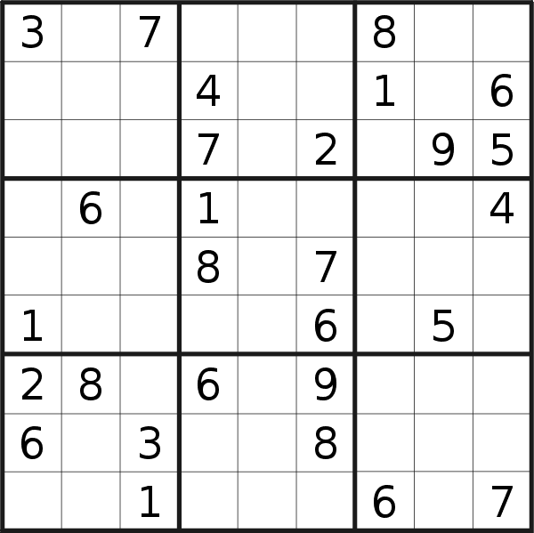Sudoku puzzle for <br />Sunday, 17th of February 2019