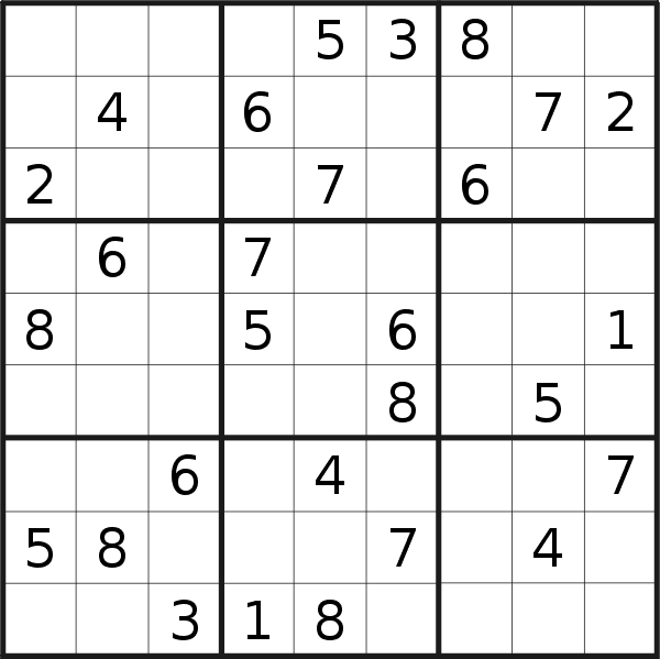 Sudoku puzzle for <br />Wednesday, 20th of February 2019