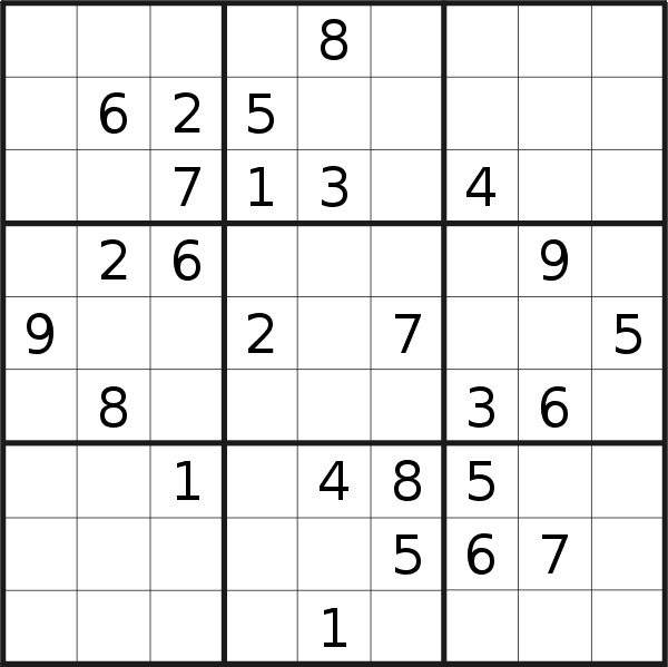 Sudoku puzzle for <br />Thursday, 21st of February 2019