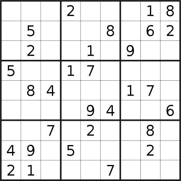 Sudoku puzzle for <br />Wednesday, 27th of February 2019