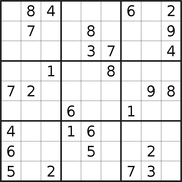 Sudoku puzzle for <br />Saturday, 2nd of March 2019