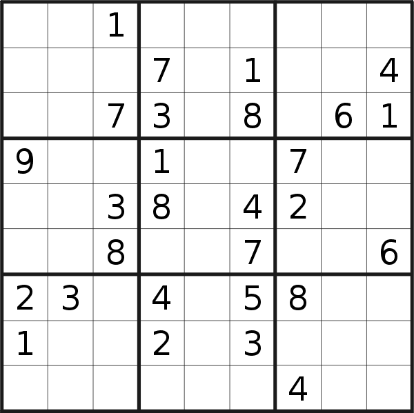 Sudoku puzzle for <br />Monday, 4th of March 2019
