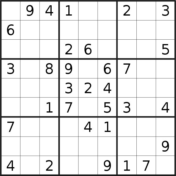 Sudoku puzzle for <br />Friday, 8th of March 2019