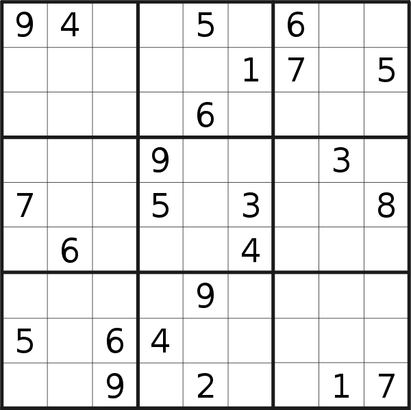 Sudoku puzzle for <br />Sunday, 10th of March 2019