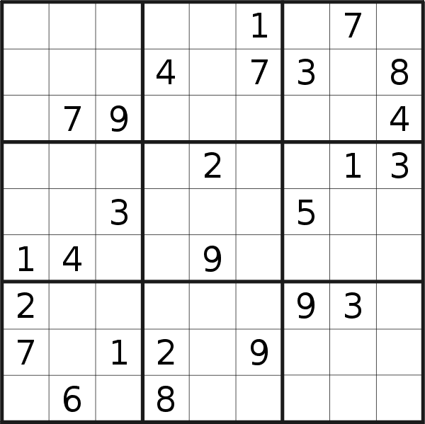 Sudoku puzzle for <br />Monday, 11th of March 2019