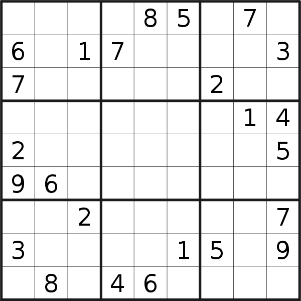 Sudoku puzzle for <br />Tuesday, 12th of March 2019