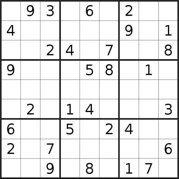 Sudoku puzzle for <br />Wednesday, 13th of March 2019