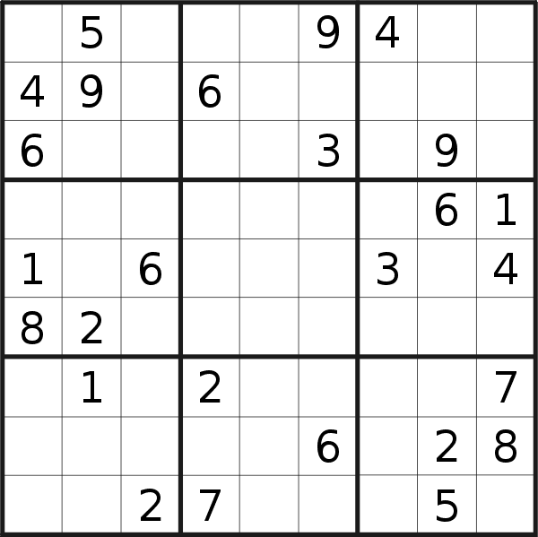 Sudoku puzzle for <br />Friday, 15th of March 2019