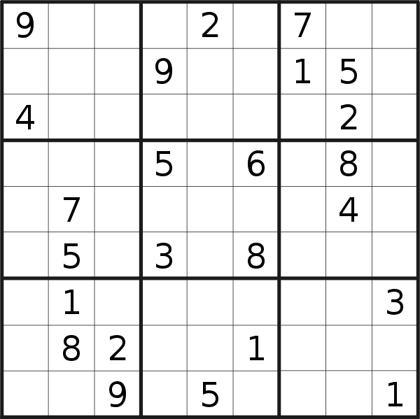 Sudoku puzzle for <br />Sunday, 17th of March 2019
